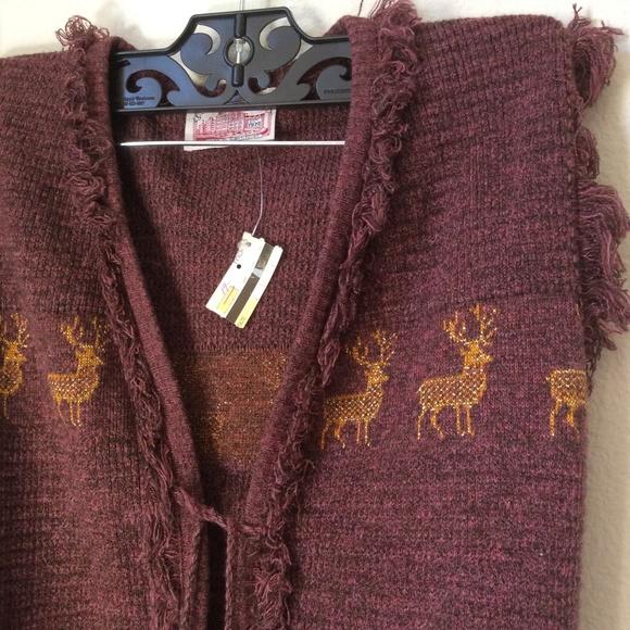 Macy's Jackets & Blazers - Reindeer Tassel Tie Fringe Knit Vest